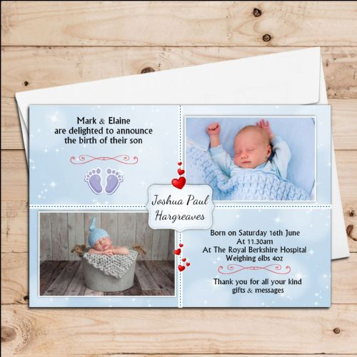 10 Personalised Baby Boy Birth Announcement Thank You PHOTO Cards N121